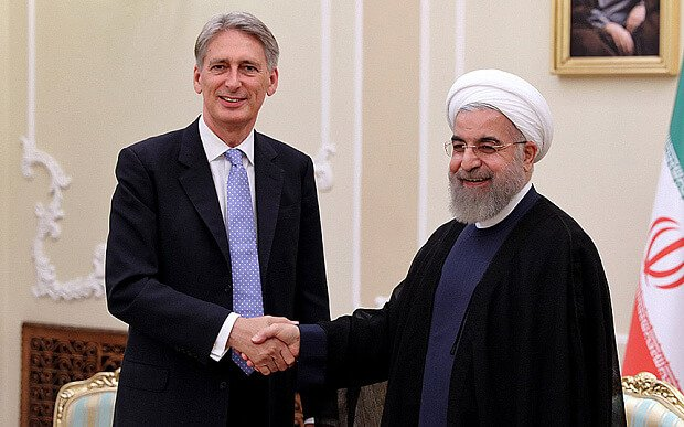 Phillip Hamond, the British Secretary of State for Foreign and Commonwealth Affairs and Hassan Rouhani, the Iranian President, Tehran 2015, the reopening of the British Embassy.